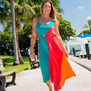 Color block dress with belt